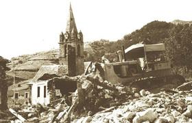 Demolition of the Ubaye Church by a bulldozer